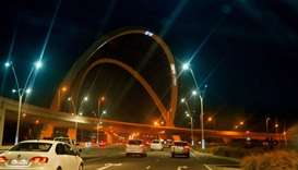 Images projected onto the 5-6 arches located at the 5-6 interchange
