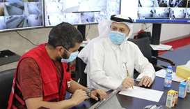 Dr Abdul-Salam al-Qahtani during one of the regular meetings at the Mekaines quarantine facility to