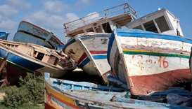 This picture taken last year shows the abandoned remains of migrant boats on Lampedusa.