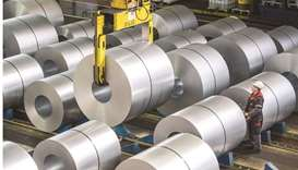 A view of the storage area of galvanised coiled steel following manufacture at the ThyssenKrupp stee