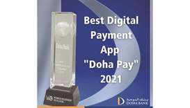 The 'Best Digital Payment App' award Doha Pay won at the World Business Outlook Awards 2021.