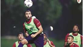 Oman players train yesterday on the eve of their game against Bangladesh.