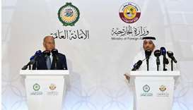 HE Sheikh Mohamed and Arab League Secretary General Ahmed Aboul Gheit briefing the media about the d