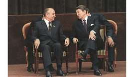 BLAST FROM THE PAST: In this file photo taken on November 21, 1985 US president Ronald Reagan talks