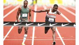 In this April 24, 2021, picture, Trayvon Brommell (right) beats Noah Lyles in the USATF Grand Prix 1