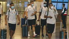 Libya's players arrive at the Hamad International Stadium yesterday. Libya will take on Sudan in the