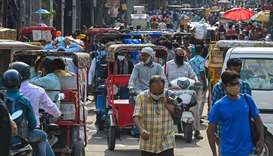 A general view of a crowded market is pictured after the authorities eased a lockdown imposed as a p