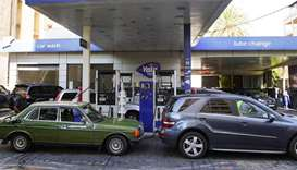Cars queue for fuel at a gas station in Beirut, Lebanon. REUTERS