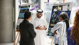 Hassan Al-Jahni (centre) at the annual Media and Research Awards ceremony hosted by NU-Q to recognis