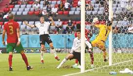 Germany's Robin Gosens (second from left) scores the team's fourth goal during the UEFA Euro 2020 Gr
