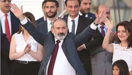 Prime Minister and leader of Civil Contract party Nikol Pashinyan attends a rally after snap parliam