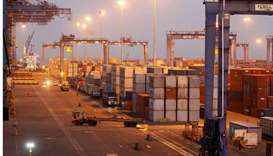 A general view of a container terminal is seen at Mundra Port, one of the ports handled by India's A
