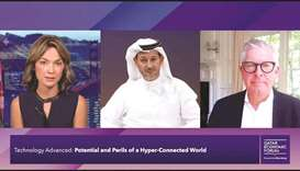 Bloomberg anchor Emily Chang, Ooredoo Group managing director, Aziz Aluthman Fakhroo, and Ericsson's