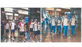 Palestine and Kuwait players arrive in Doha for the FIFA Arab Cup Qatar 2021 qualifiers on Tuesday.