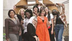 Greek and refugee women, along with co-ordinator Amie Williams (second left), participating in a pro