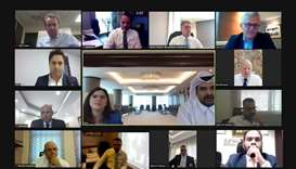 Participants at the Qatari Hotels Association's online meeting with managers of Qatari hotels.