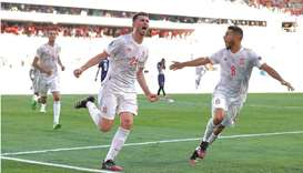 Spain's Aymeric Laporte celebrates with teammate Koke (right) after scoring a goal during the UEFA E