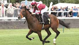 Pat Dobbs rides South Audley to victory in the racingtv.com Restricted Maiden Stakes in Nottingham,