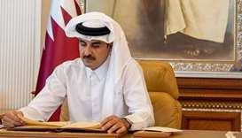 His Highness the Amir Sheikh Tamim bin Hamad al-Thani on Friday speaks via video conference in the m