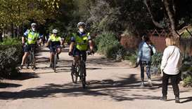 Police on bicycles patrol in Melbourne with the coronavirus lockdown of Australia's second-biggest c
