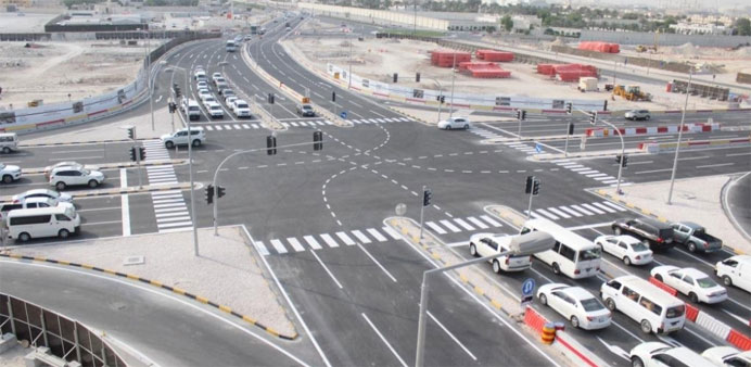 The new intersection after being opened to traffic.