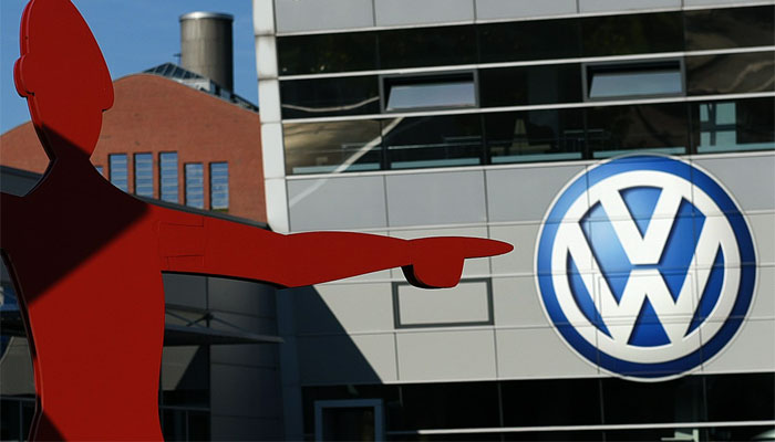 The logo of Volkswagen is seen at the entrance to a VW branch in Duesseldorf, western Germany. AFP