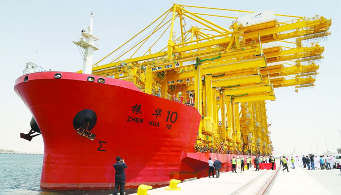 The Zhen Hua 10 is docket at the Hamad Port. PICTURE: Jayaram