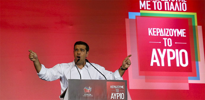 Former Greek prime minister and leader of leftist Syriza party Alexis Tsipras