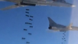 Russian Tupolev Tu-22M3 long-range strategic bombers conducting an airstrike at an unknown location
