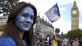 A demonstration against Britain's decision to leave the European Union, in central London