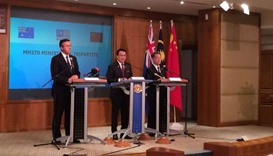 Malaysian Transport Minister Liow Tiong Lai (centre) speaks at the press conference in Kuala Lumpur