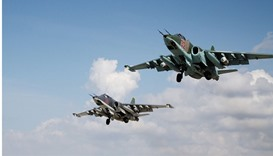 Su-25 jets of the Russian Aerospace Forces after taking off from Hmeymim airbase, Syria