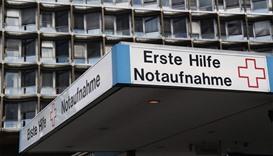 The emergency entrance of the Charite university hospital is pictured  in south-western Berlin.  AFP