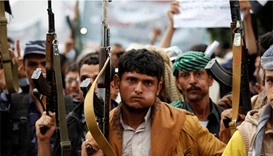Supporters of the Houthi movement take part in a demonstration