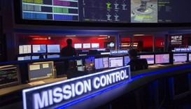The mission control room of the JPL Space Flight Operations Facility