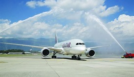 Qatar Airways' Boeing 787 Dreamliner lands at Geneva International Airport