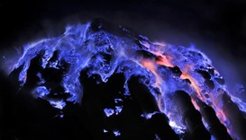 Indonesian volcano puts on spectacular blue light show