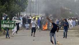 Kashmiri protestors clash with Indian government forces after Eid prayers in downtown Srinagar. File