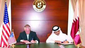 HE the Foreign Minister Sheikh Mohamed bin Abdulrahman al-Thani and US Secretary of State Rex Tiller