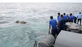 Sri Lankan navy rescues elephant washed out to sea