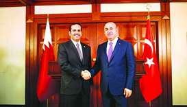 HE the Foreign Minister Sheikh Mohamed bin Abdulrahman al-Thani with his Turkish counterpart Mevlut