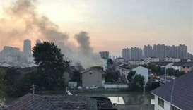 Fire at a two-storey residential house in Yushan town in Changshu city