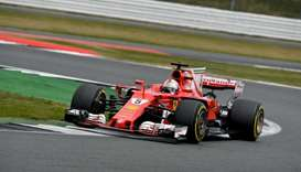 Ferrari's German driver Sebastian Vettel drives