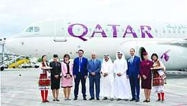 Qatar Airways' inaugural flight touches down at Skopje airport