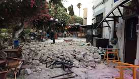 Damage caused by a quake in Kos, Greece, July 21, 2017 is seen in this still photograph uploaded on