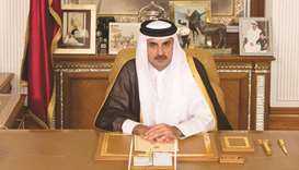 His Highness the Emir Sheikh Tamim bin Hamad al-Thani addressing the nation.