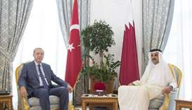 His Highness the Emir Sheikh Tamim bin Hamad al-Thani meeting with Turkish President Recep Tayyip Er