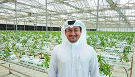 Agrico managing director Nasser Ahmed al-Khalaf at his organic hydroponics farm in Al Khor.