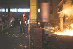 Fire, smoke and metal at North Korea steel plant