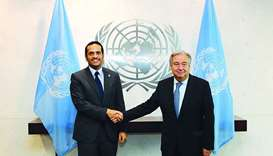 HE the Foreign Minister Sheikh Mohamed bin Abdulrahman al-Thani shakes hands with Antonio Guterres
